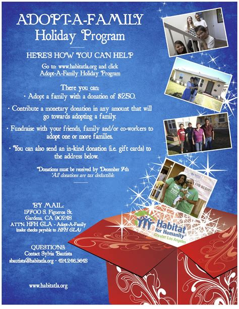family christmas program habitat for humanity of greater los angeles announces annual adopt a family program