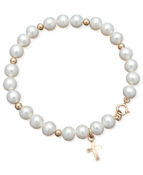 macy s pearl bracelet children s 14k gold cultured