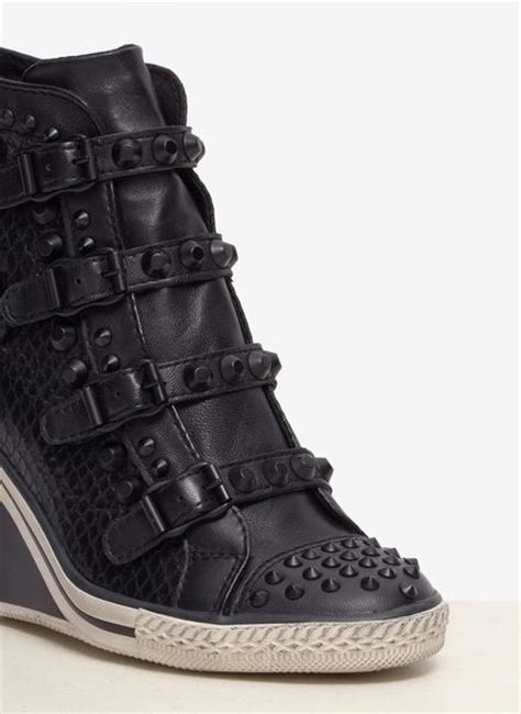 ash leather wedge sneakers ash tanagra studded snake effect leather wedge sneakers in
