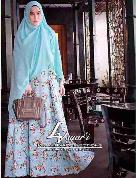 Baju Muslim Syari Lyra Baju Muslim Syari Lyra Blue Model Busana Katun Sifon