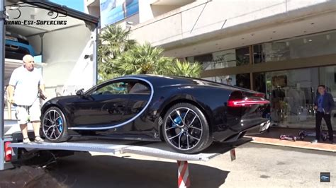 bugatti dealership bugatti chiron captured getting transported into monaco