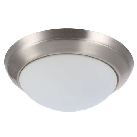 hton bay 14 in 2 light brushed nickel flushmount with