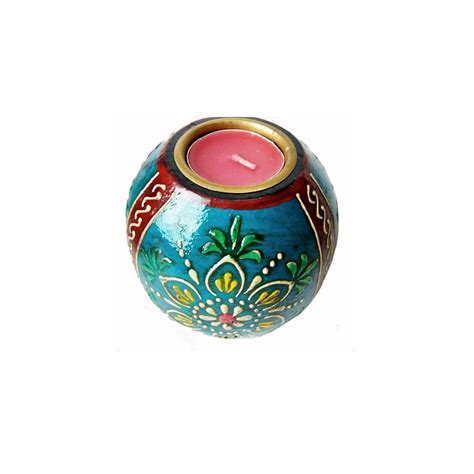 Handcrafted Tea - meenakari handcrafted tea light holder set antikcart