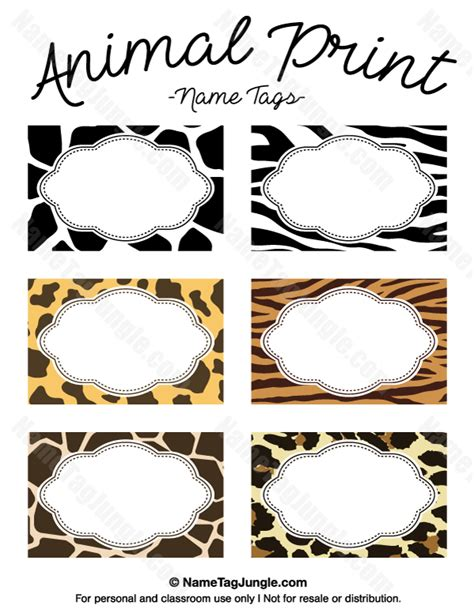 stuffed animal name card template free printable animal print name tags the template can