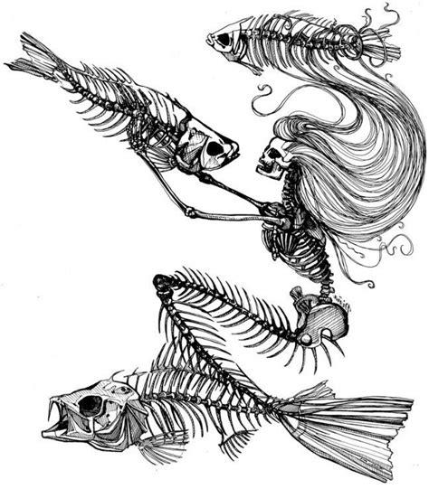 mermaid skeleton tattoo scary mermaid skeleton with diving fish bones