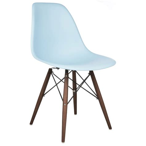 Molded Plastic Dining Chairs Eames Style Dsw Molded Light Blue Plastic Dining Shell Chair With Walnut Wood Eiffel Legs