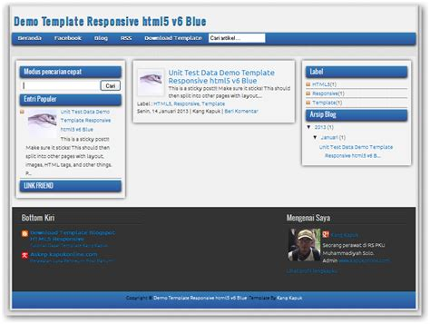 html5 responsive templates for blogger responsive html5 v6 blue edition blogger templates