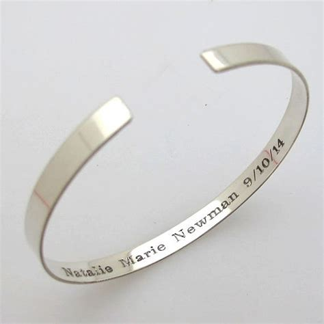 engravable quotes personalized cuff bracelet custom engraved sterling