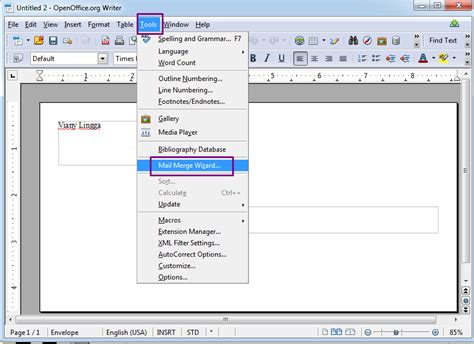 tutorial membuat mail merge di openoffice viany lingga revi membuat envelopes mail merge pada