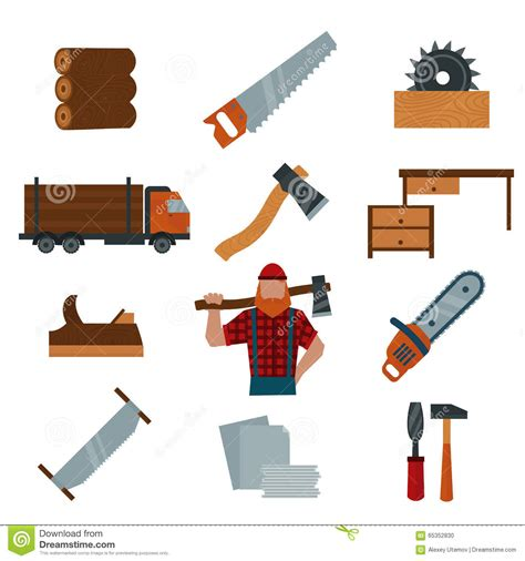 Lumberjack Cartoon Character With Lumberjack Tools Icons
