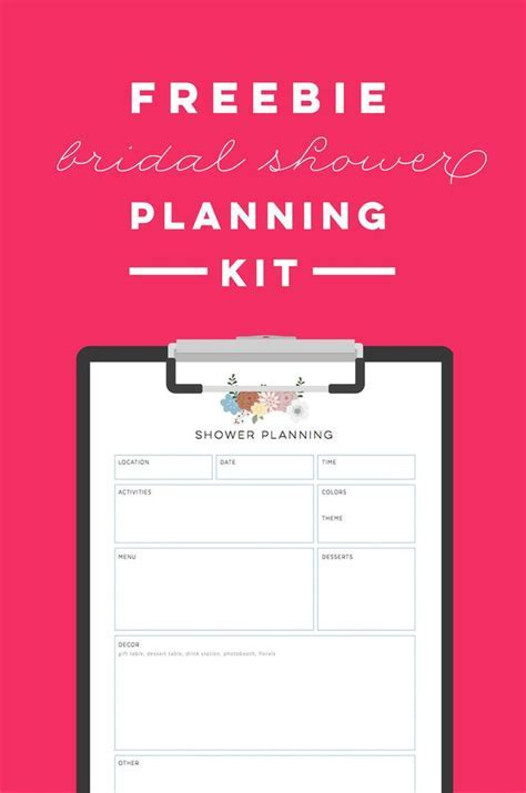 FREE printable bridal shower planning kit   to do list