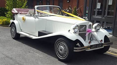 vintage white beauford convertible wedding car hire manchester  surrounding areas