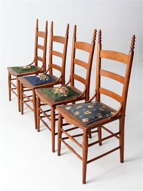 Ladder Back Seat Chairs - antique ladder back chairs with needlepoint seat