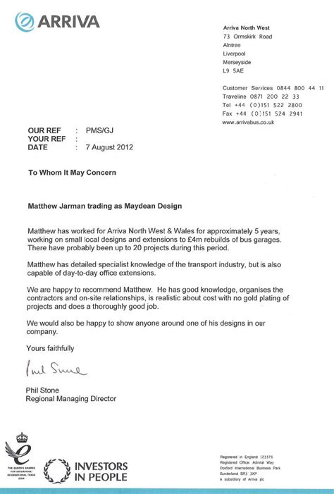 Recommendation Letter Template Uk Maydean Design Architectural Services Reference Letter