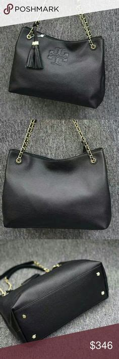 Tas Burch Tb Fleming Open Shoulder Original 2 burch black fleming open shoulder bag it s made of supple leather detailed with an embossed