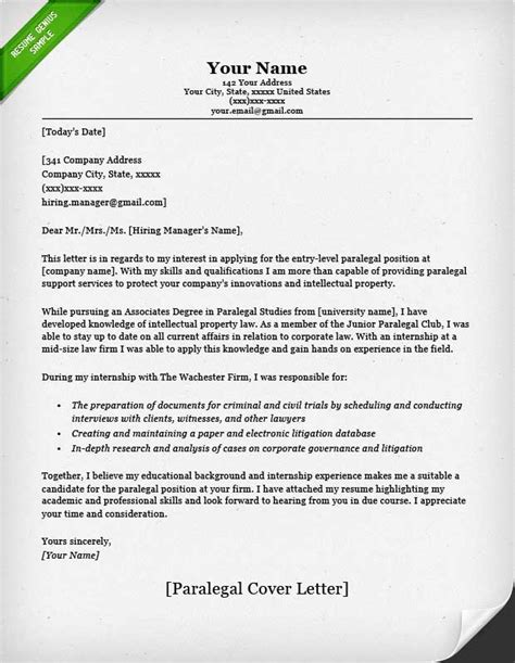 paralegal cover letter templates paralegal cover letter sle resume genius