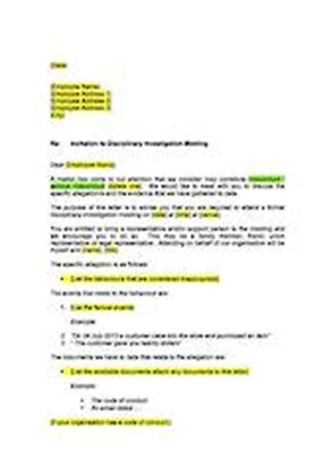 Invitation Letter To Disciplinary Meeting Template Invitation To Investigation Meeting Serious Misconduct