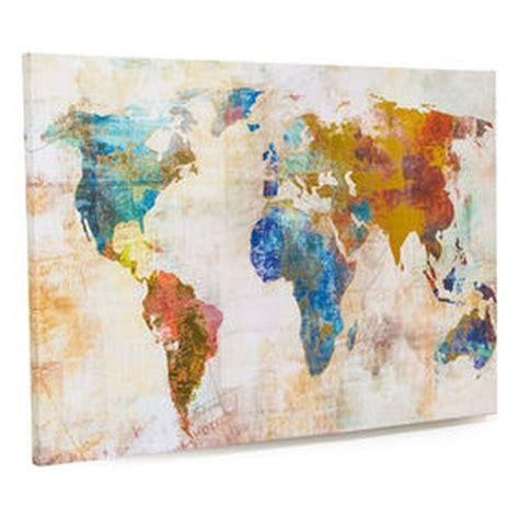 Acrylfarben Auf Holz by Living Bild Weltkarte Bunt Holz Leinwand Acrylfarbe