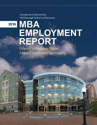 Isu Mba Part Time by 2016 Mba Employment Report By Georgetown