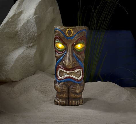 Tiki Solar Lights Outdoor 18in Solar Tiki Statue Outdoor Living Outdoor Decor Lawn Ornaments Statues