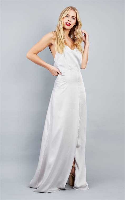 Silver Split Leg Maxi Dress With Cut Out Back Silkfred