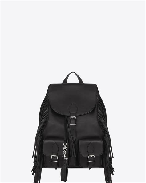 Ysl Rvs No 45 Tuxedo laurent festival fringed backpack in black leather