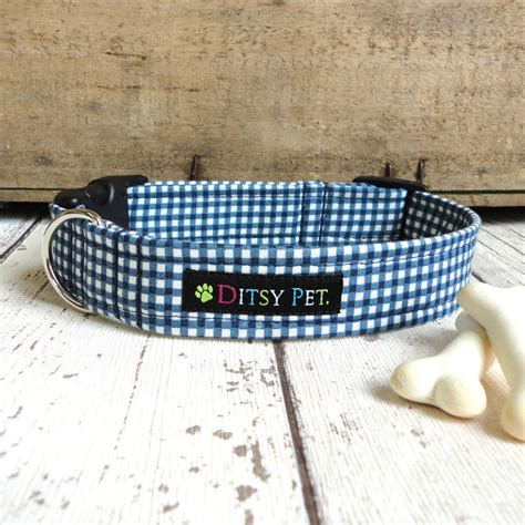 Goin Gingham Pet Pet Pet Product 3 by Navy Gingham Collar By Ditsy Pet Notonthehighstreet