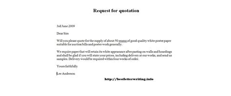 Business Letter Request For Quotation request for quotation templatebusiness letter exles