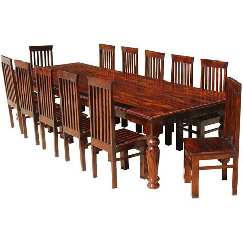dining room table for 12 130 quot rustic solid wood rectangular large dining room table