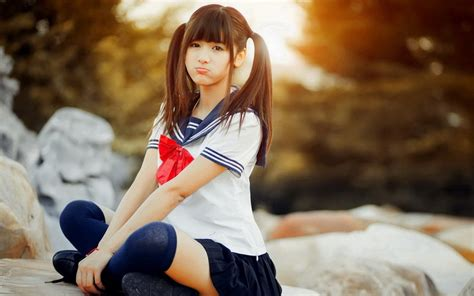 anime cosplay girl wallpaper asian women school uniform cosplay wallpapers hd