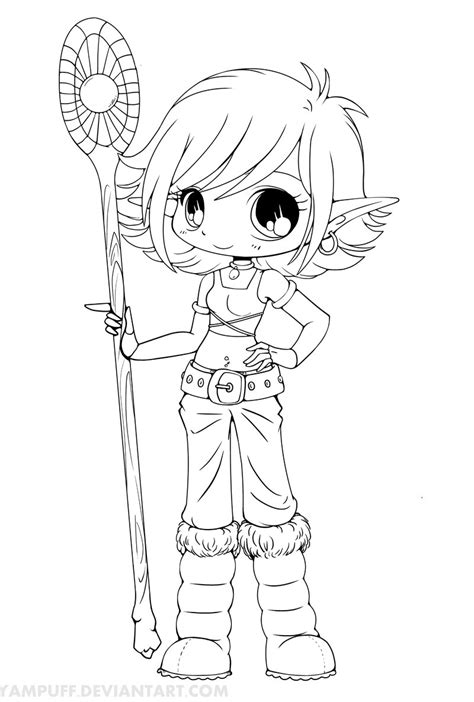 anime elf coloring pages lana snow elf chibi lineart by yampuff on deviantart
