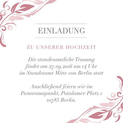 Hochzeitseinladung Standesamt by Standesamtliche Einladung Vorlagen