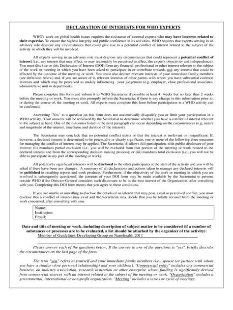 conflict of interest declaration template declaration of interest form 2 free templates in pdf