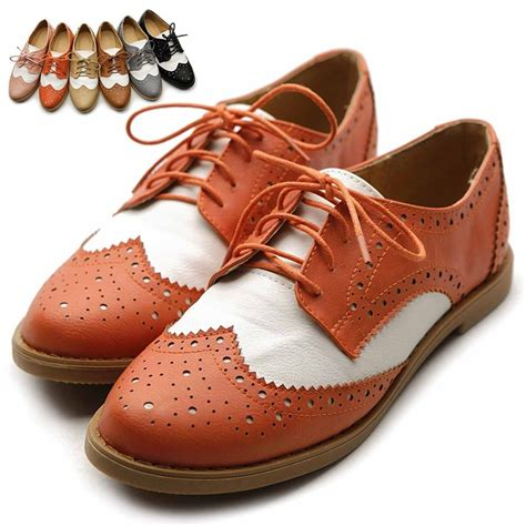 womens oxford shoes flat ollio flat loafer wingtip lace up 2 tone oxford