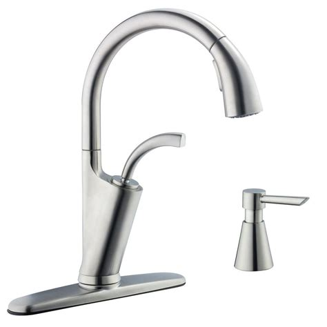 glacier bay pull kitchen faucet glacier bay heston single handle pull sprayer kitchen faucet with soap dispenser in chrome