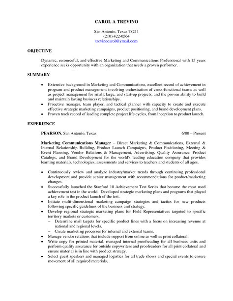 marketing resume objective template entry level marketing