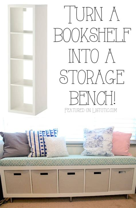 bookshelf into bench 20 easy creative furniture hacks with pictures