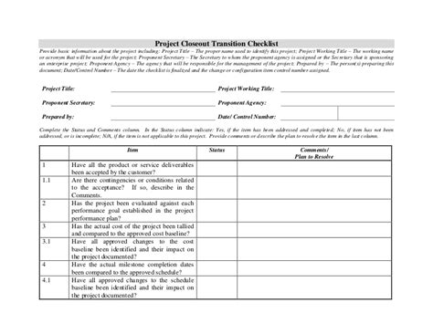 Project Closeout Checklist Template by Project Closeout Transition Checklist