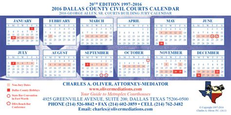 Dallas County Civil Search Charles Oliver Mediator 2016 Metroplex Court Calendars