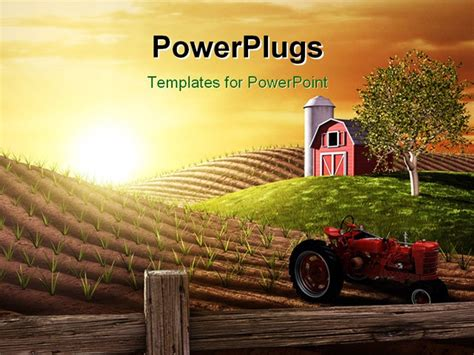template farm powerpoint template small barn and tractor on farm at