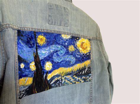 acrylic paint denim gogh s starry painting on denim jacket