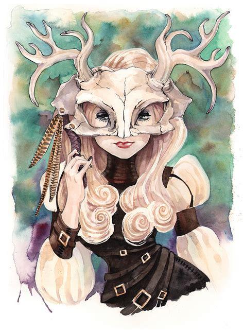jackalope skull mask painting by carla wyzgala