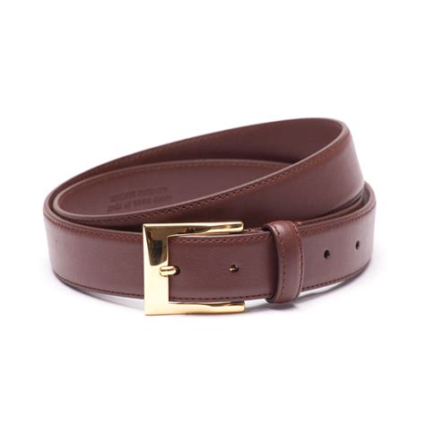 soft calf leather belt with brass buckle dege