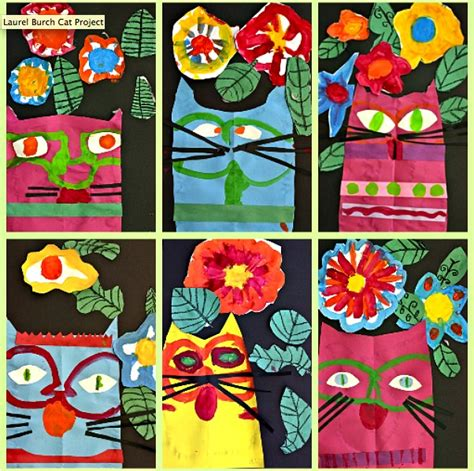 pattern cat art lesson 1st grade in one year laurel burch cat project