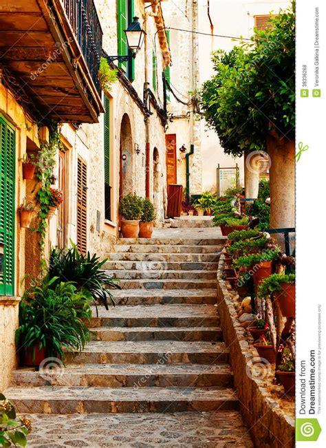 Spanish Mediterranean Style House Plans - street in valldemossa village in mallorca royalty free stock photos image 38336268