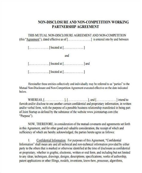 sle non disclosure agreement template non disclosure non compete agreement template 28 images