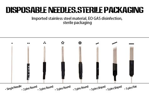 tattoo needle names 0 35 mm 3 pins sloped disposable tattoo needles eo gas