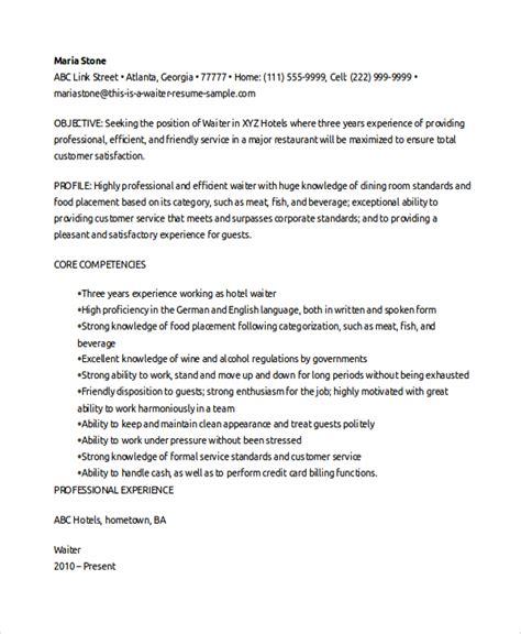 Sample Resume Waitress – Resumes4U Samples