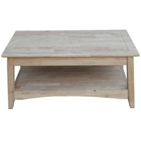 International Concepts Bombay Unfinished Lift Top Coffee Unfinished Furniture Coffee Table