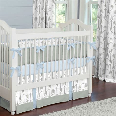 Baby Blue Crib Bumper Gray And Lake Blue Arrow Crib Bumper Carousel Designs